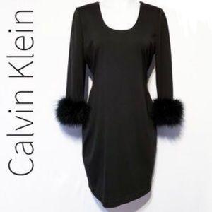 Calvin Klein black dress fur sleeve